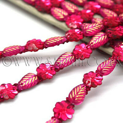 PINK FLORAL GEMS beads TRIM Rhinestone trimming,edging,EMBELLISHMENT,COSTUME,SEW