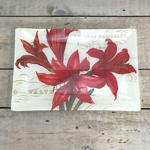 VINTAGE-Inspired-Style-Vanity-Tray-Floral-Lily-Decor-Display-Glass-Plate-Red