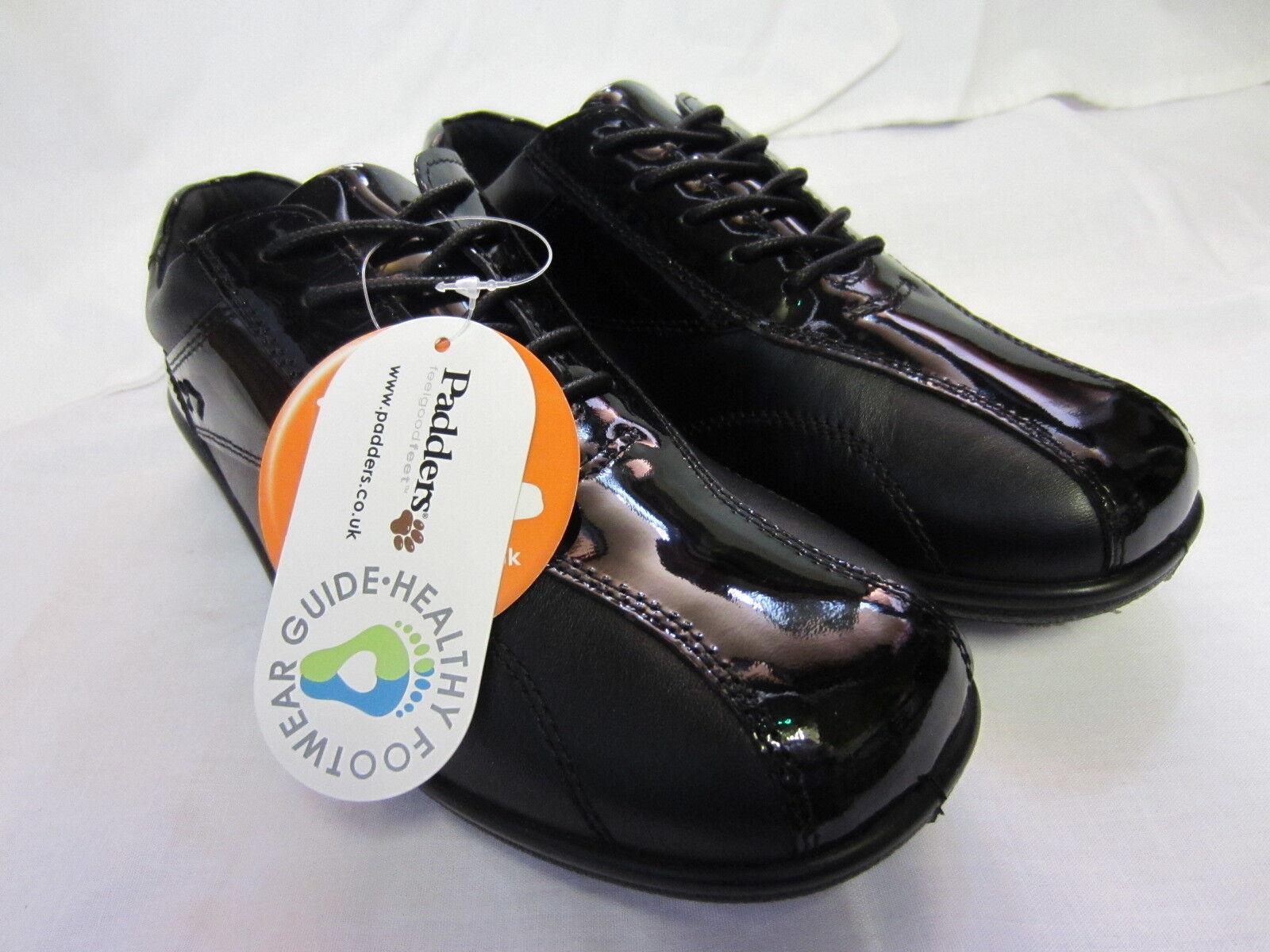 Padders' RITMO 1656/96.5Cm da donne,in pelle nera/VERNICIATA Scarpe con lacci EE