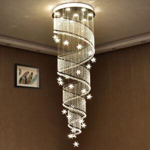 LED-Treppen-K9-Kristall-Kronleuchter-Deckenlampen-Haengelampe-Luester-Leuchte-Lamp