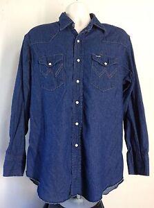 3344cf7a Vtg 80s 90s Wrangler Dark Denim Western Shirt Blue L Pearl Snap ...