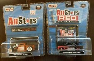 Lot-of-2-Maisto-All-Stars-039-36-Chevy-Pickup-amp-All-Stars-Red-039-66-VW-Karmann-Ghia