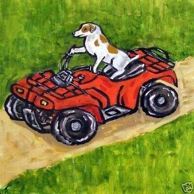 jack russell terrier riding an atv dog art tile coaster