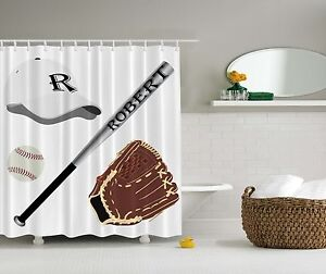Image Is Loading Kids Boys Baseball Sports Personalized Name Fabric Shower