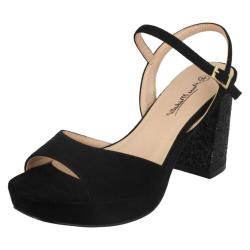 Ladies Black//Burgundy Anne Michelle Glitter Heel Open Toe Party Sandals F1R0662