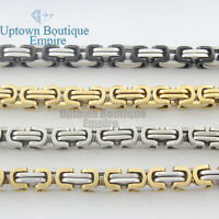 20-36men Stainless Steel 6-8mm Gold Silver Black Byzantine Box Chain Necklace