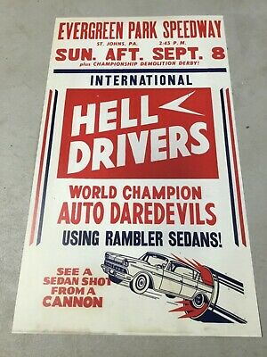 1958 Evergreen Raceway St Johns Pa Joie Chitwood Stunt Show Poster Sign