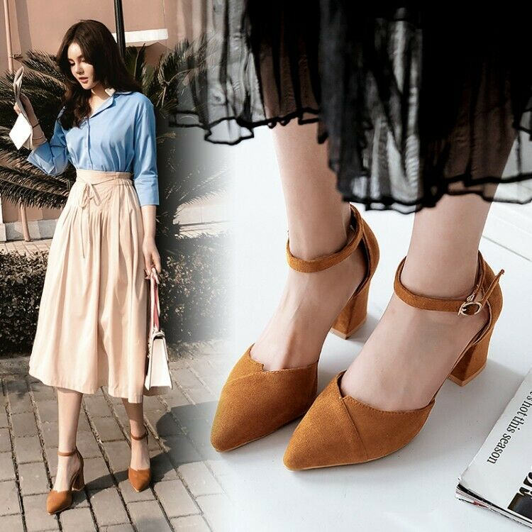Womens Ankle Strap Block High Heels Pointed Toe Suede Pumps Fashion Shoes 4.5-13