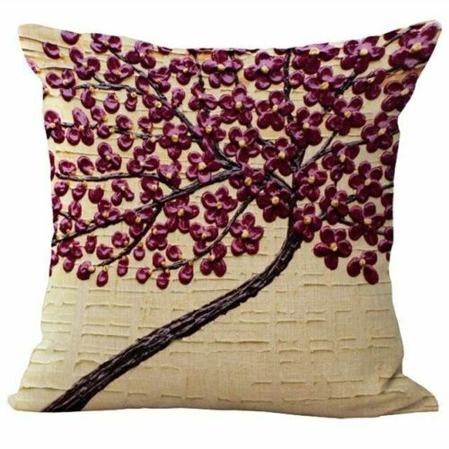 """18/"""" Cotton Linen Oil Painting Tree Pillow Cases Throw Cushion Covers Home Decor"""