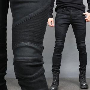 04075bcb Men's Super Slim Fit Black Wax Coated Seaming Bikers Skinny Jeans ...