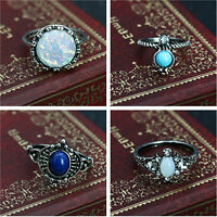 4pcs Women Vintage Boho Ring Set Crystal Gem Ring Punk Jewelry Xmas Gift #2-7