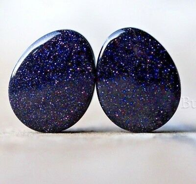 Gauges 10 sizes 6mm 11mm 25mm Pair of Teardrop Blue Goldstone Plugs