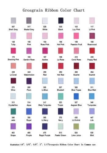 1 Set BLESSING Good Girl Grosgrain Ribbon TPX Color Card 72 Solid Color