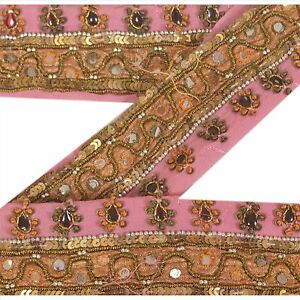 "Embellishments & Finishes Lower Price with Sanskriti Vintage Pink 1 Yd Sari Border Hand Beaded Sewing 2""w Craft Decor Lace Utmost In Convenience Linens & Textiles (pre-1930)"