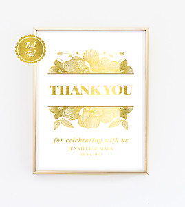 Wedding print poster sign // Gold foil // Thank you for celebrating with us