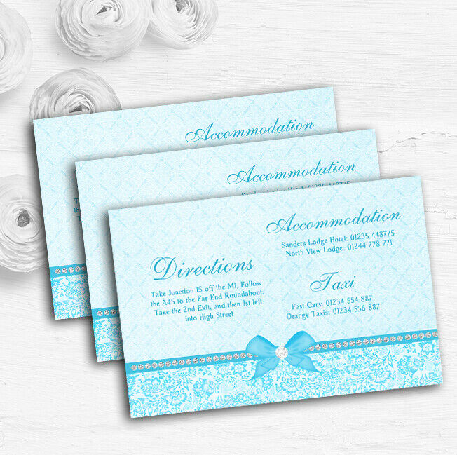Pretty Floral Vintage Bow Diamante Aqua Sky Blau Wedding Guest Information Cards