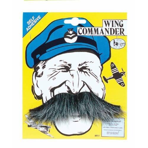 Grey RAF Wing Commander Tash Squadron Leader Pilot Fancy Dress Moustache