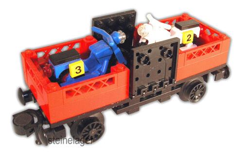 Lego® Eisenbahn 12V Niederbordwaggon aus 7735 Waggon Trains Motorrad