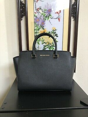 NWT Michael Kors Selma Large Saffiano Leather Top Zip Satchel Black $448 | eBay