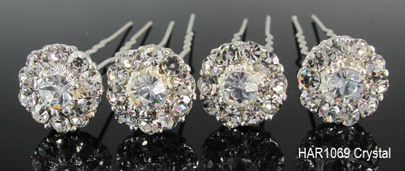 6 10 20pcs Clear Crystal Diamante Wedding Bridesmaid Flower Hair Pins Clips