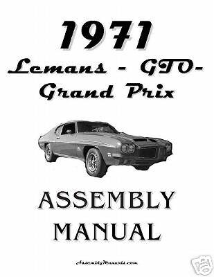 1971 Pontiac Lemans GTO Grand Prix 71 Assembly Manual