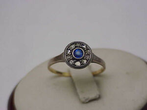 Victorian 9k Pink White Gold Genuine Sapphire & Rose Cut Diamonds Ring,1800s