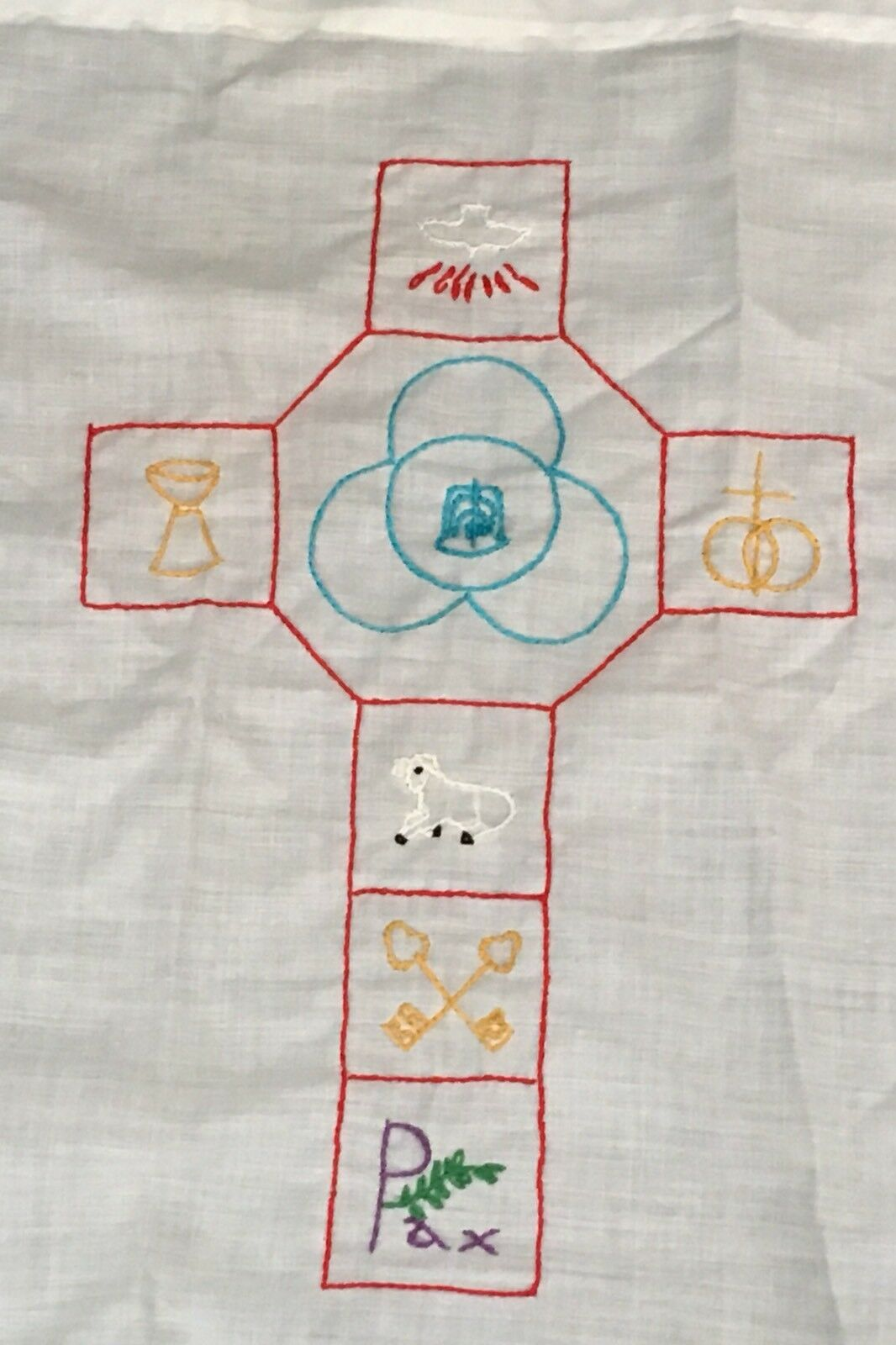 Integrity Designs Linen Cloth for Baptism with Silver Cross