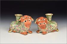 Pair of 19th Century Chinese Export Famille Rose Foo Dog Candle Holders