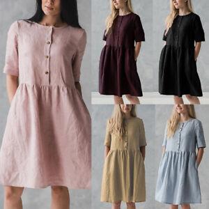AU-Women-Casual-100-Cotton-Mini-Dress-Baggy-Party-Holiday-Shirt-Sundress-Sz-8-26