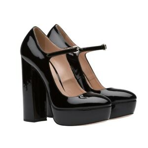women shoes round toe block heel platform pumps patent