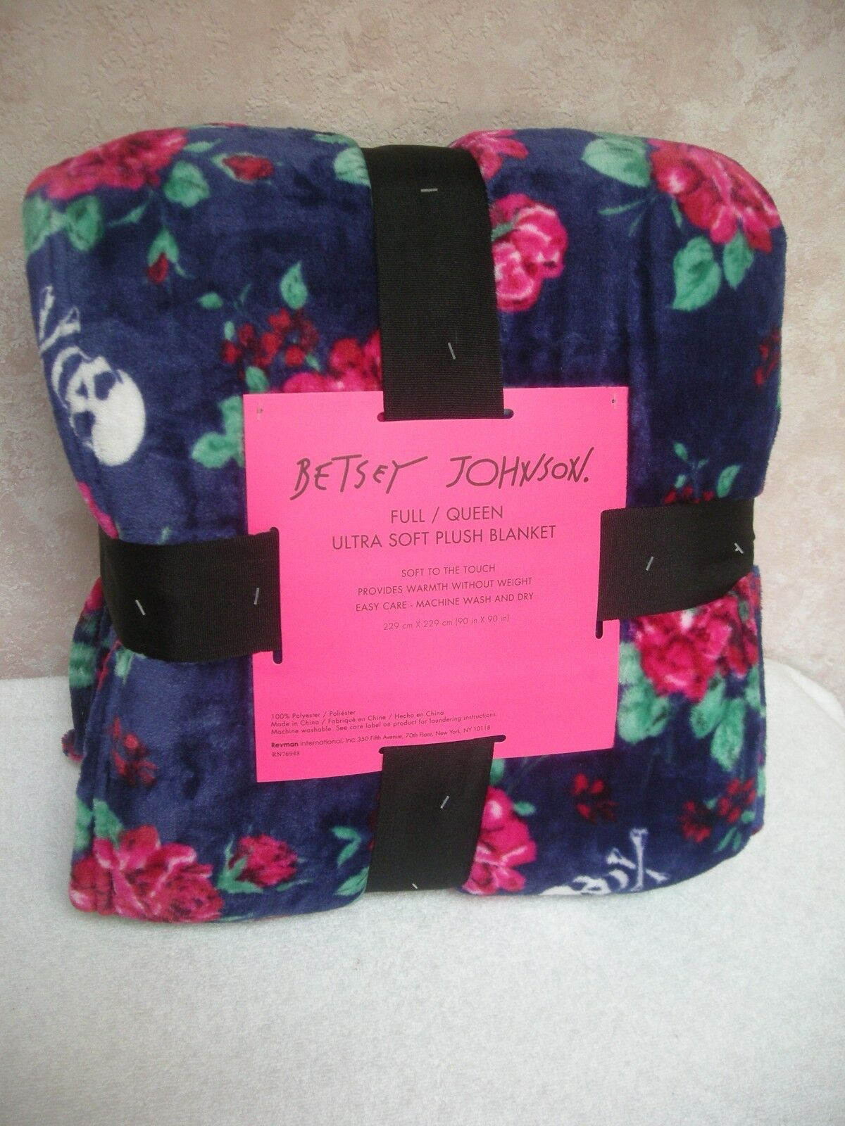 Betsey Johnson FULL QUEEN Ultra Soft Throw Blanket bluee Floral Skulls 90  X 90