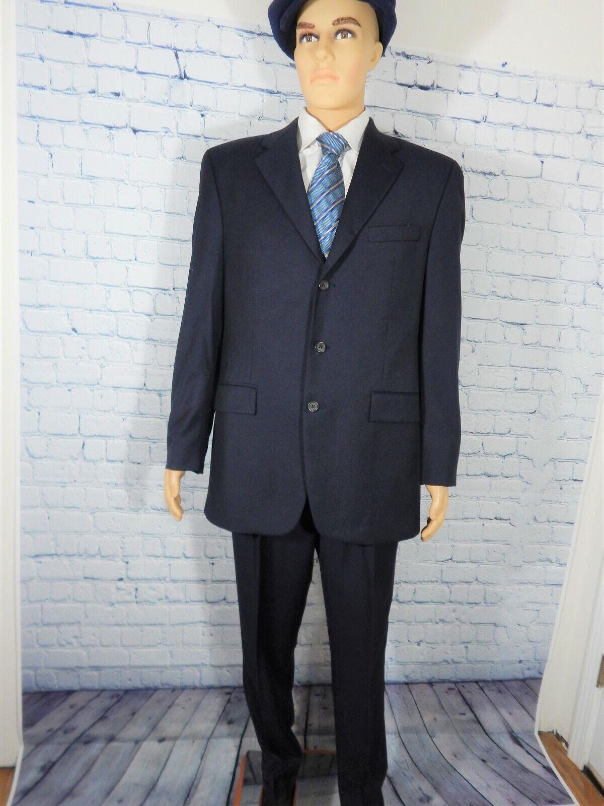 Men's Navy bluee 3 Button Executive Suit,RALPH LAUREN,Cuffed&pleatd,42L-38x30 NIC