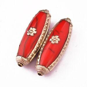 Red-Resin-2-Beads-Tibetan-Flower-Nepalese-Ethnic-Tribal-Handmade-UB2666