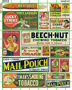 2012-DAVE-039-S-DECALS-HO-RED-DOT-BEECH-NUT-MAIL-POUCH-LUCKY-STRIKE-TOBACCO-SIGNS