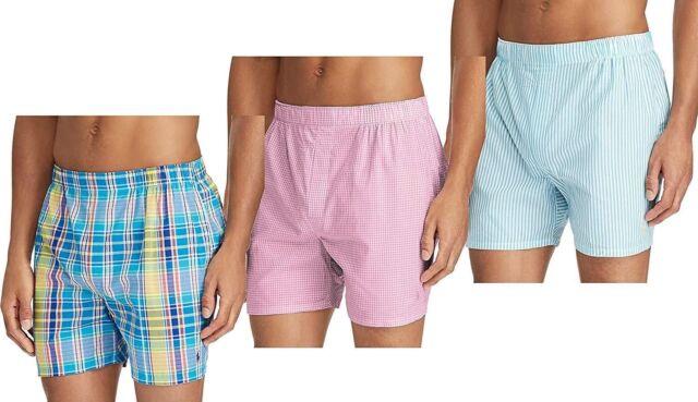 258d1e3f87a3 Polo Ralph Lauren MensUnderwear Classic Fit 100% Cotton Woven Boxers 3 Pack  LT9