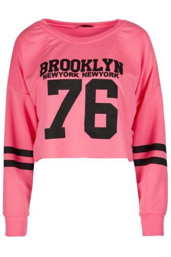 Womens Sports Stripe Long Sleeve Knit Baggy Crop Top Ladies Fleece Sweatshirt