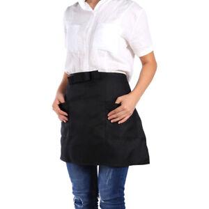 Half-Short-Waist-Apron-W-2-Pockets-Waitress-Waiter-With-Pocket-Kitchen-Cafe-Pub