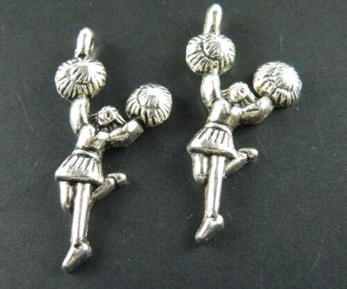120pcs Tibetan Silver Cheerleader Charms 29x14mm 8005