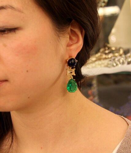 Boucles d/'Oreilles Clous Art Deco Perle Goutte Bleu Vert Ancien Cadeau AA 4
