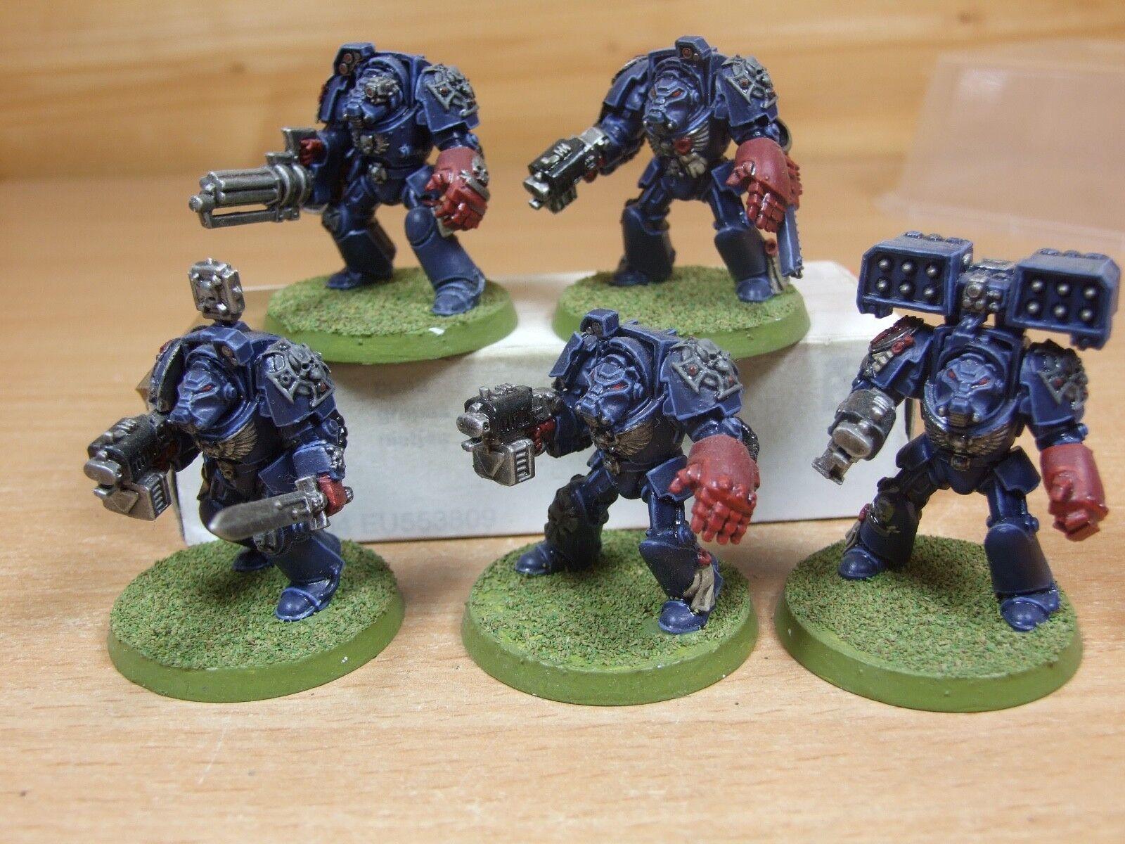 5 Plastique warhammer space marine crimson fists Terminators bien peint (4054)