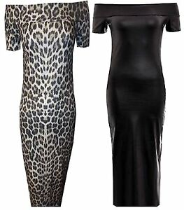 b16c1bf49a New Womens Plus Size Offshoulder Midi Wetlook PVC Animal Print Dress ...