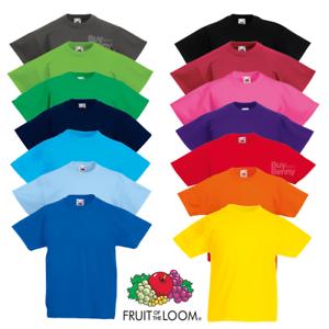 Fruit-of-the-loom-enfants-t-shirt-tee-enfants-garcons-filles-ecole-age-3-15-couleurs
