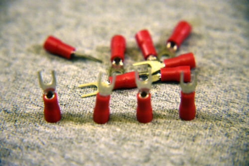 U.S Seller Red Insulated Spade Fork Connector Electrical Crimp Wire RED 12pcs