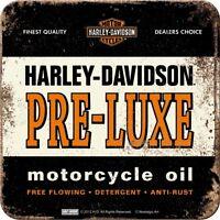 NOSTALGIE GLAS UNTERSETZER Harley Davidson PRE-LUXE Logo Motorrad Biker NEU