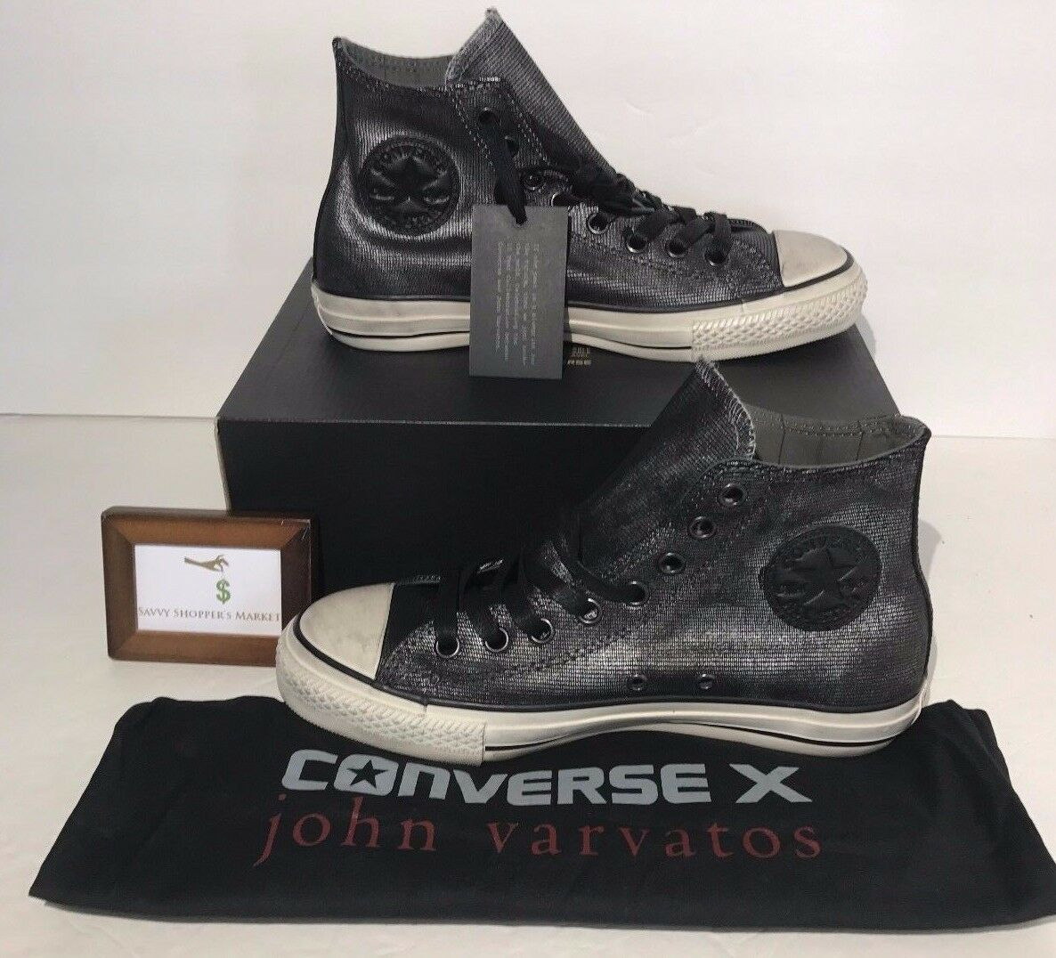 Converse X John Varvatos Ct Womens Size 8.5 Ct Varvatos Hi Silver Black Sneakers New 07fe99
