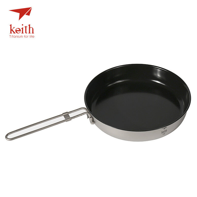 Keith Ti8150 1L Titanium Folding Frying Pan Ultralight Cooking Pot Camping BBQ