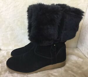 speical offer promo code popular stores LANDS END LADIES BLACK SUEDE AND FAUX FUR TRIM ANKLE BOOTS 6 UK 39 ...