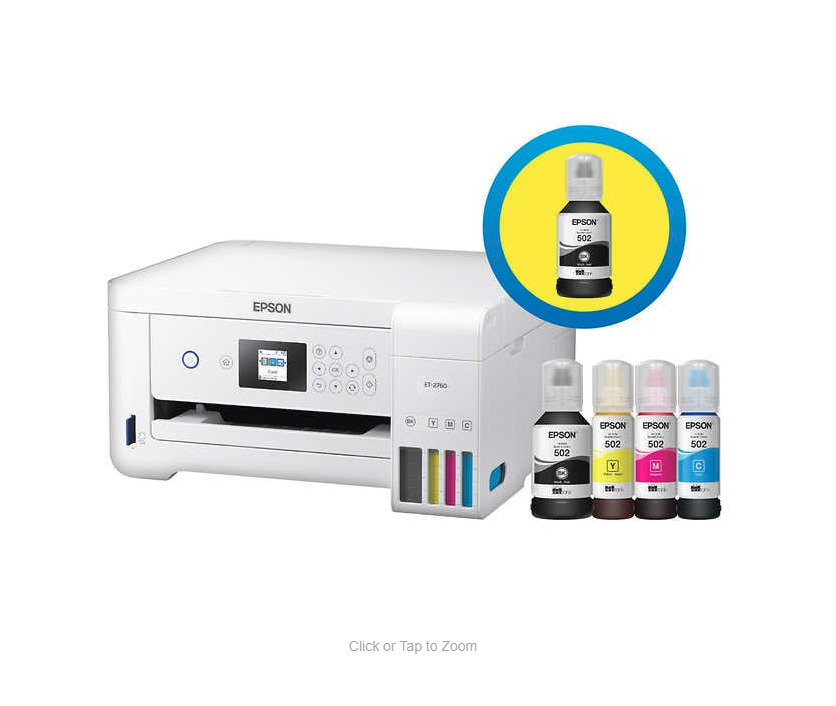 Epson EcoTank 2760 Special Edition All-in-One Printer With Bonus Black Ink. Buy it now for 199.99
