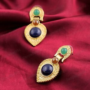 ETHNIC CHANDELIER EARRINGS gold pltd TEARS drop BLUE/GREEN ...
