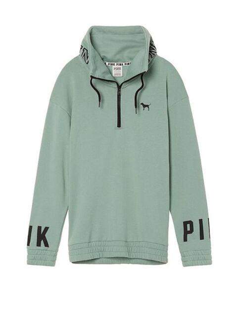 Victoria's Secret PINK Half Zip Cowl Neck Pullover Sweatshirt Seasalt Green XS